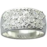 Pure Sterling Silver Mens Ring with CZ crystal stones by BodyTrend - SIZE V