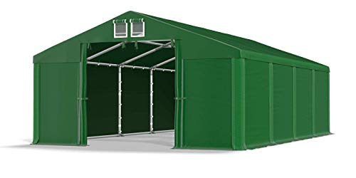 Das Company Lagerzelt 4x8m wasserdicht dunkelgrün Zelt 560g/m² PVC Plane ganzjährig Garagenzelt Winter SD