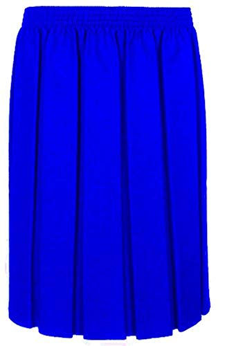 adam & eesa Girls Box Pleated Skirt School Uniform Elastic Skirts Grey Navy Black Ages 2-16 (6-7 Years, Royal Blue) - Blue School Uniform Pleated Skirt