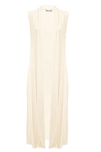 Janisramone Womens New Stylish Sleeveless Open Collared Boyfriend Long Length Ladies Maxi Cardigan