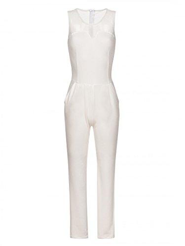 Laeticia Dreams - Tuta da donna lunga, in rete, taglie S M L XL Bianco