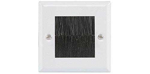 kenable UK Single Gang Frontplatte, mit Bürste schwarz für Kabel-EXIT/Steckdose–weiß