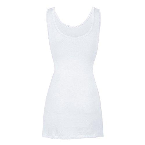 Jiayiqi Femmes Dames Étirer Gilet Robe sans Manches Modale T-Shirt Blanc
