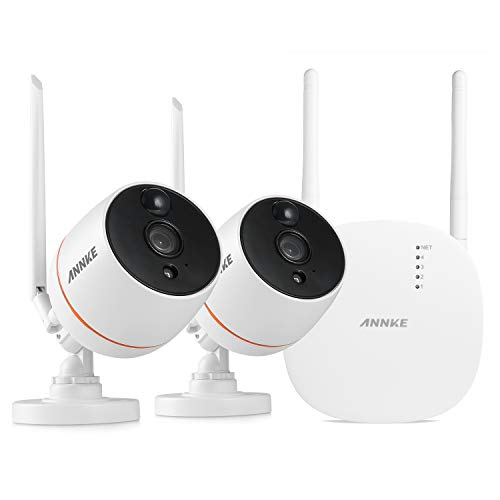 ANNKE 2MP NVR Mini Kit de sécurité Surveillance sans Fil,avec 2 1080P IP  caméra intérieur et extérieur Wireless et Détection de Mouvement
