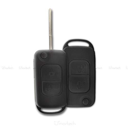 Chiavit - Carcasa para mando de coche con 2 botones y hoja virgen abatible para Mercedes Benz Clase A, B, C, E, S, G, M, V, Vito, Sprinter y Vaneo sin electrónica ni transpondedor