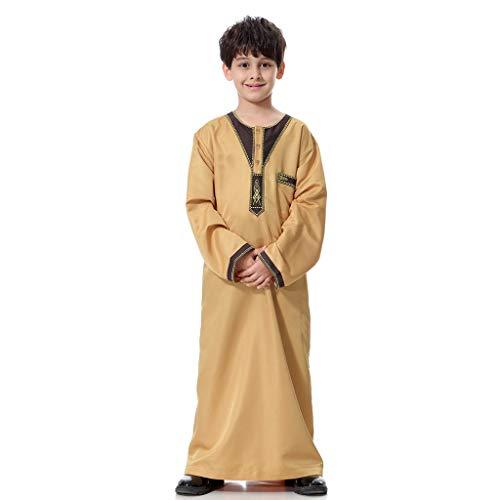 Scrolor Islamische muslimische Dubai Robe Traditionelle Bekleidung für Jungen Mans Langarm Solide Saudi Arabisch Kleidungsstück täglich tragen(Gelb,L/44) (Baby Kostüm Dubai)