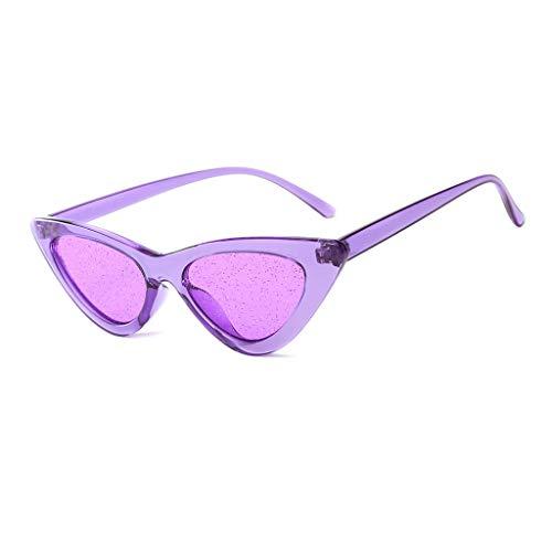 VENMO Mode Herren Retro kleine ovale Sonnenbrille für Damen Metallrahmen Shades Brillen Katzenauge Metall Rand Rahmen Damen Frau Mode Sonnebrille Gespiegelte Linse Women Sunglasses (L-Lila)