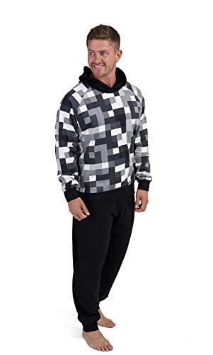 Mens Pyjamas 100% Super Soft Cotton Men Pjs Set Pajamas for Man Nightwear Loungewear Tracksuit (Nero Pixel, XXL)