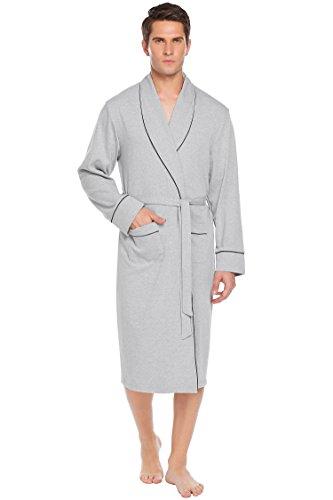 Bademantel Herren, SummerRio Morgenmantel Saunamantel Kimono Baumwolle Schalkragen Langarm mit Gürtel und Tasche M-3XL Gray