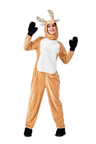 Rentier Sven Das Kostüm - Fanessy. Unisex Rentier Kostüm Overall mit Kapuze Tierkostüm Schlafanzug Jumpsuit für Fasching Halloween Weihnachten Karneval Party Familien Kostüm Kind Erwachsene Verkleidung Cosplay Outfit Set
