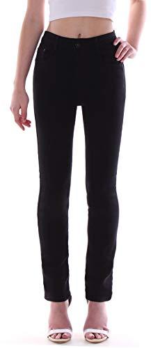 Damen Hochschnitt Jeans Hose Stretch High Waist Straight Leg schwarz Damenjeans Damen-Hose-n Jeans-Hose-n Stretchjeans Stretch-Hose-n Hoch-er-Bund Gerad-er-Schnitt Size Schwarze Gr Größe L 40 -