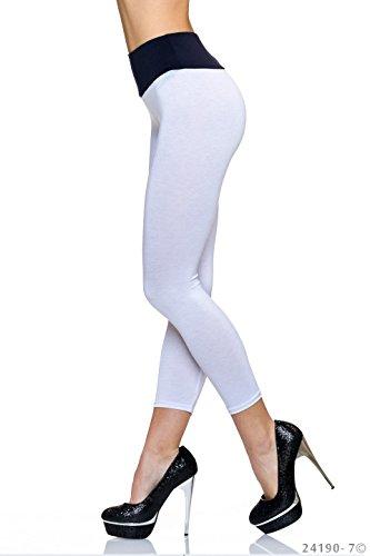 Damen Leggings Weiß-Dunkelblau