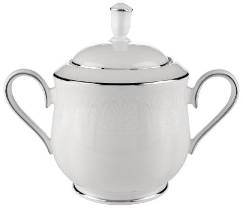 Lenox Hannah Platinum Bone China Sugar Bowl with Lid by Lenox China Sugar Bowl