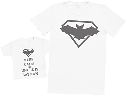 Keep Calm My Uncle is Batman - Ensemble Père Bébé Cadeau - Hommes T-Shirt & T-Shirt bébé - Blanc - XX-Large & 1-2 Ans