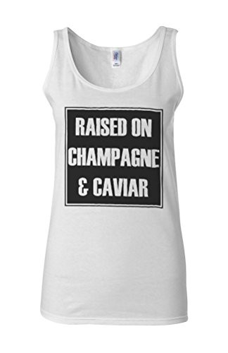 Raised On Champagne Caviar Novelty White Femme Women Tricot de Corps Tank Top Vest **Blanc