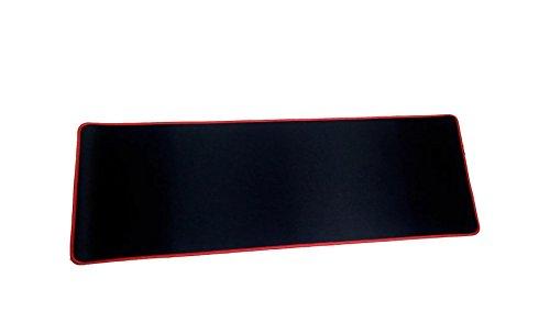 Woodlandu Verl?ngert Gaming Mouse Pad Gen?hte Kanten Geschwindigkeit seidiger Oberfl?che rutschfeste Gummiuntermatten 300x900x3mm/11.8x35.4x0.12inch Rot Edges