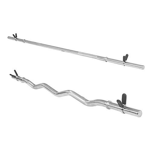 Hantelstangen Set bestehend aus 1x Langhantel 170cm und 1x SZ-Curlstange 120cm Federverschluss