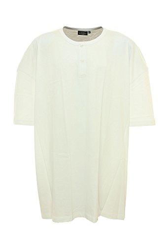 T-Shirt mit Knopfleiste weiß Kitaro Übergröße Weiß