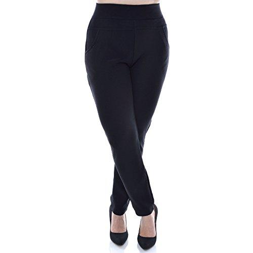 Damen Stretch Stoff Loose Hose Leggings Treggings Übergröße Jeggings Röhre 20930, Hosengröße:M / L;Farbe:Schwarz (Grüne Stretch-cord)