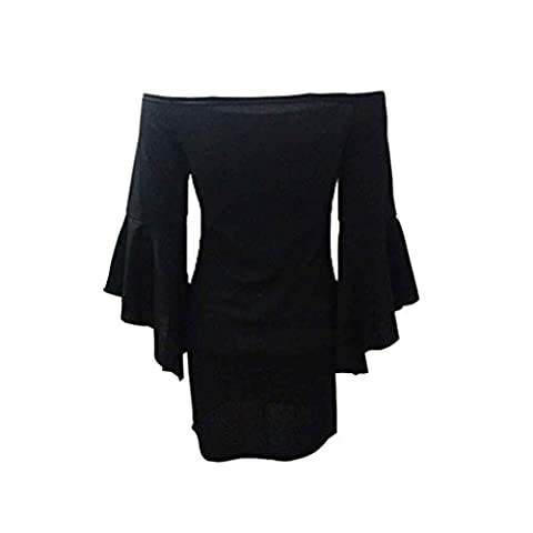 Ranboo Womem Off Shoulder Long Flare Manches Ruffles Bodycon Mini Robes