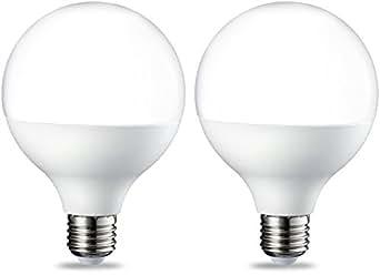 AmazonBasics Lampadina LED Globo E27, 14.5W (equivalenti a 100W), Luce Bianca Calda, Pacco da 2