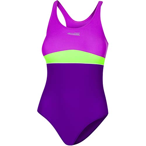 Aqua Speed einteiliger Badeanzug Mädchen Kinder 8/10 Jahre I Bathing Suit Girls I Bademode I Schwimmanzug violett grün mit UV-Schutz I Schwimmen I Violet - Dark Violet - Green I Emily