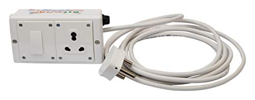 BITCORP Polycarbonate Safe-Ex 1 Socket, 1 Switch 15/16 AMP 10 Meter Wire Extension Board (White)