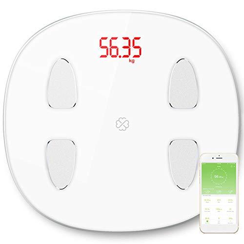 jEZmiSy Digitale Personenwaagen, Smart Body Fett Monitor Rahmen Elektronisch LED Digital Anzeige Bluetooth Gewicht Waage, Fördern Sie EIN gesundes Leben und halten Sie Sich fit White