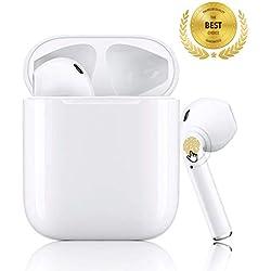 Écouteurs Bluetooth, Casque sans Fil, Stéréo 3D Toucher Écouteurs Intra-Auriculaires avec 24H boîtier de charge et HD Mic réductionde Bruit, pour Apple Airpods iPhone Samsung/Android