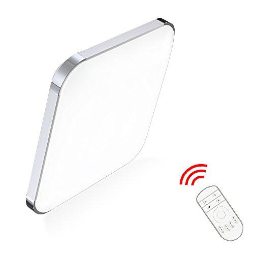 24W Dimmbar LED Deckenleuchte Eckig Deckenlampe Ultraslim mit Fernbedienung Wohnzimmerlampe Badleuchte Schlafzimmerleuchte Beleuchtung Innenleuchte Silber Energiesparende Möbeleinbauleuchte