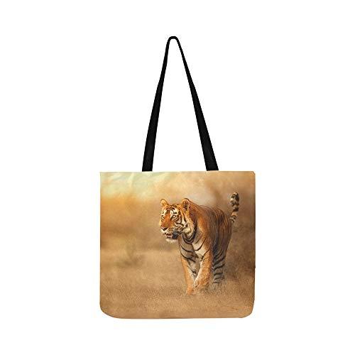 Bengal Tiger In Forest Show Kopf Und Bein Leinwand Tote Handtasche Umhängetasche Crossbody Taschen Geldbörsen Für Männer Und Frauen Einkaufstasche