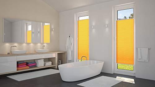 DecoProfi PLISSEE melonengelb, verspannt, Breite 110cm x 130cm (max. Gesamthöhe Fensterflügel), mit Klemmträger / Klemmfix / ohne Bohren - 8