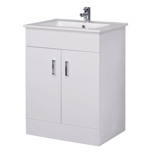 Trueshopping Minimalist 600mm White Gloss Vanity Unit with Ceramic Basin Sink - Bathroom Storage - Cloakroom Cabinet Furniture