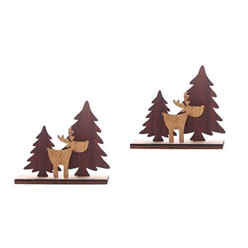 SilenceID Weihnachten Holz Ornamente 2 STÜCKE Holz Weihnachtsbaum Rentier Elch Handwerk Desktop Fenster Dekorationen Rustikale Weihnachtsschmuck -