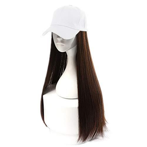 Haaren Mit Langen Kostüm - HOOLAZA Frauen weiße Baseballmütze mit langen hellbraunen geraden Perücken 2 IN 1 lange gerade Perücke Kappe Hut 24 Zoll langes Haar weibliche natürlich aussehende Perücken(EINWEG)