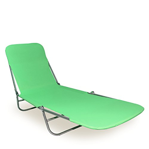 Premium Folding Lounger, Foldable Beach Bed: Lay Down & Relax at the Beach, Pool, Garden or Anywhere Outdoors! Lightweight and Durable Tanning Chaise. Ideal for Sunbathing. Green