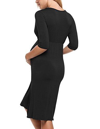 HOTOUCH Damen Umstandskleid Schwangerschaft Kleid Gerafften Stillkleid Diskretes Stillen Stretchkleid 3-Schwarz