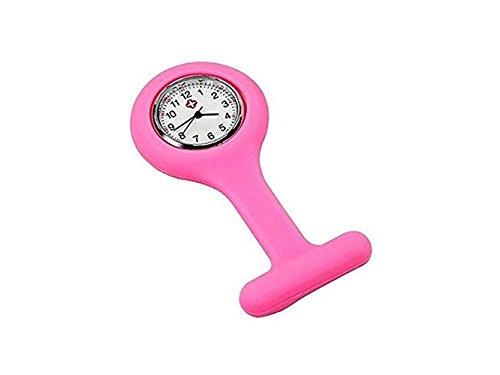 HOUHOUNNPO Fashionable Watch Docteur Montre Silicone Infirmières Broche Montre Tunique Fob Montre (Rose)