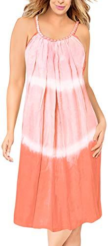 LA LEELA Tie-Dye-leichte glatt Rayon Strandbadebekleidung Bikini geselligen Abend Riemchen kurzes Kleid verschleiern Pfirsichstrandabnutzung Sleeveless Frauen lose Maxi Nachthemd - Tie-dye-tunika
