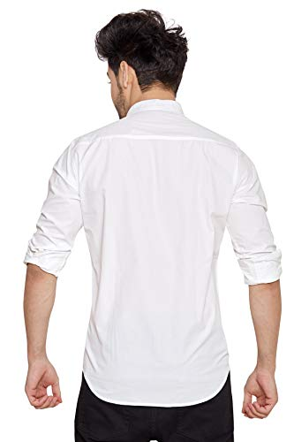 Go Stylish Solid Chinese Collar Casual Shirt for Men Stylish-M White