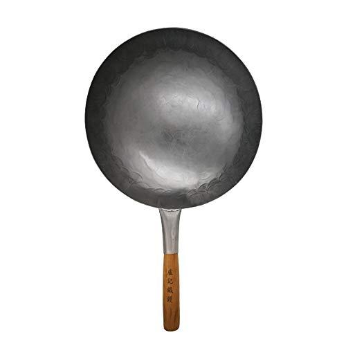 40cm 16inch Carbon Stahl von Hand gehämmert Wok Handgeschmiedete Wok unbeschichtete Antihaft-Pfanne Carbon-wok