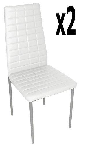 Lot de 2 chaises longues de salon en PU coloris blanc, 500 x 415 x 950 mm -PEGANE-