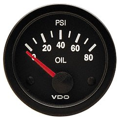 VDO Vision Black 80 PSI Oil Pressure Gauge - Use with VDO Sender - 12V