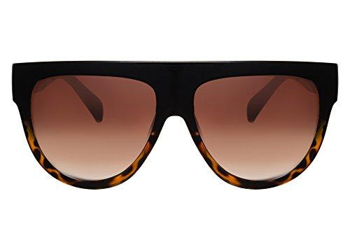 Cheapass Damen Sonnenbrille Schwarz Braun Über-Groß XXL Oversized UV-400 Vintage Leo-pard Frauen (Print-damen-sonnenbrillen)