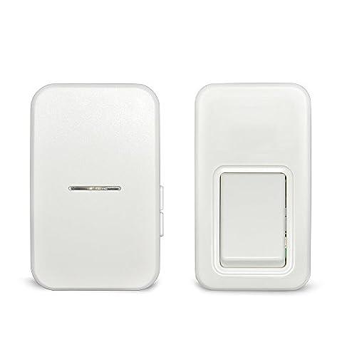 Sonnette sans fil sans batterie, CYMALL Nouveauté la plus haute qualité 433MHz Porte Bell 110m longue portée Pas besoin de batterie Auto-alimenté étanche Bouton poussoir Bell Sans fil avec 25 anneaux Sonnettes (Wireless Doorbell)