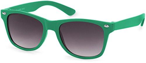 styleBREAKER Kinder Sonnenbrille, klassiches Retro, Nerd Design 09020056, Farbe:Gestell Grün/Glas...