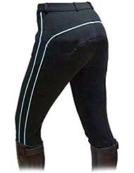 Jodhpurs/Pantalones de Equitación para Dama en Color Negro con Raya Decorativa en Color Azul Claro - Negro con raya en aqua, 40 EU, 100% - por ciento - tejido de algodón