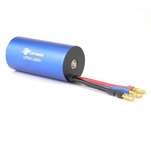 Wafalano Brushless Motor, LDPOWER 3674-01 4 Poles 2-6s 5.0mm Shaft Diameter 2260KV Brushless Motor for 1:8 RC Car Model Spare Parts Accessories