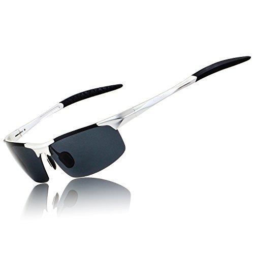 RONSOU Herren Sport Al-Mg Polarisiert Sonnenbrille Unzerbrechlich zum Fahren Radfahren Angeln Golf silber rahmen/grau linse