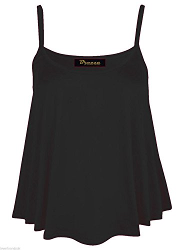 Frauen ärmel Cami Schwingen Vest Top Ausgestelltes Plus Size (52-54, Schwarz) (Apple Frauen Bottoms)
